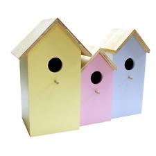 3x Nido Legno Casetta Per Uccelli Casa Per Piccolo Garden Birds Robin Blu Tits