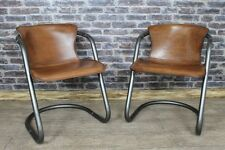 INDUSTRIAL STYLE TUBULAR STEEL AND LEATHER ARMCHAIR DINING CHAIR THE ASCOT