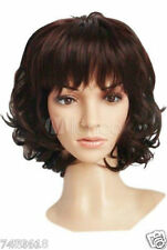 100% Real Hair! Woman's Fashion Dark Brown Curly Short Wig Human Hair