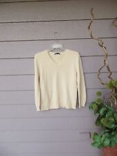 AMAZING $495 The Row Cream Wool & Cashmere Blend V-Neck Sweater Size M