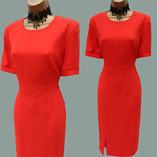 Whistles Coral Red Agnes Split Panel Crepe Cocktail Bodycon Dress UK 10 RRP £110