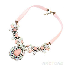 Women's Fashion Pink Water Drop Ribbon Short Statement Pendants Necklace Dreamed