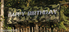 LARGE JUNGLE ARMY CAMOUFLAGE CAMO DECORATION HAPPY BIRTHDAY FLAG POSTER BANNER
