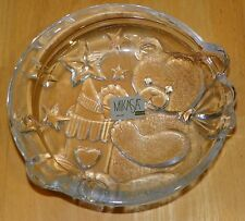 Mikasa Glass Dish Pressed with Teddy Stars and Birthday Hat with Original Label
