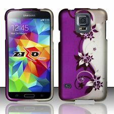 Design Rubberized Hard Case for Samsung Galaxy S5 - Purple Silver Vine