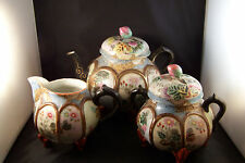Antique Oriental Rose Bud Finial Teapot Teaset Hand Painted Signed Amazing