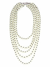 Kenneth Jay LANE KJL Glass Necklace Pearl 5 Rows Jet Black Beads Statement NEW