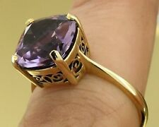 R224 Genuine Solid 9K Yellow Gold Natural Amethyst Cushion Solitaire Ring size O