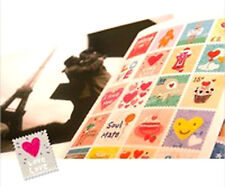 2 SETS of CUTE STAMP STICKERS Paper Deco Craft Diary Travel Envelope Seal Gift