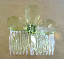 """Clear Green 2.5"""" Acrylic Facet Flower Hair Comb,Pin Up,Updo,Rockabilly"""