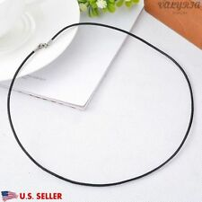 VALYRIA 19.6'' 316L Stainless Steel Women's Black Genuine Leather DIY Necklace
