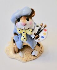Wee Forest Folk ARTY MOUSE Blue Smock