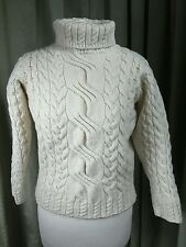 Aran Cable Polo Neck 100% Pure New Wool Jumper by Highland Industries - Small