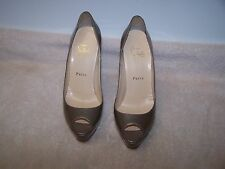 Christian Louboutin Bambou Taupe Patent Leather Women's Platform Pumps Sz 36.5