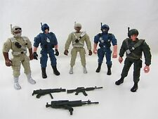 """5 Lot - LANARD Toy Military Action Figures approx 5"""" WM84495 & 3 Gun Weapons"""