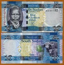 South Sudan, 10 Pounds, 2011, Pick 7, UNC