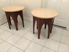 Mid Century Modern Walnut Harvey Probber Occasional tables Travertine top