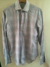 "TM Lewin Shirt Long Sleeve Cotton Checked 15.5"" Collar   T1448"