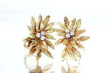 VNTG Supernova/Leaf Design 18k Gold & Diamond French Clip-on/Omega Back Earrings