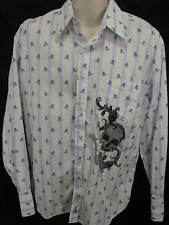 Fender Rock & Roll Lifestyle Mens Xl Long Sleeve Button Up Skulls Crossbones