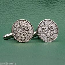 British Silver Acorns Threepence Coin Cufflinks, 3p 3 Pence England Britain UK