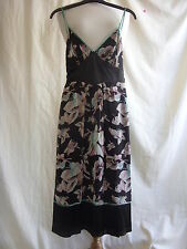 Ladies Dress - Ted Baker, size 1, small, brown/floral, 100% silk, pretty - 2351