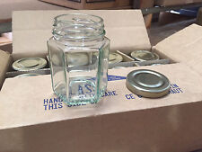 Lot of 72 Hexagon (Hex) Glass Jars for CANDLES Jelly Jam 3.7 oz (With Gold Lids)