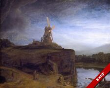 THE WIND MILL PAINTING BY REMBRANDT DUTCH LANDSCAPE ART REAL CANVAS PRINT