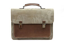 NWT.$3895 Brunello Cucinelli Leather Suede 2Tone Gusseted Shoulder Bag+Briefcase