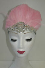 Light Pink Feather Headdress Burlesque Headpiece Vintage 1920s 1940s Silver T87