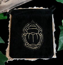 Egyptian Scarab Beetle Black Spell Pouch Charm Bag  Wicca Witch Pagan Talisman