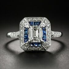 1.69 Carat Emerald-Cut Art Deco Style Diamond Sapphire Engagement Silver Ring