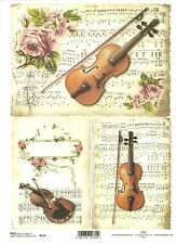 Rice Paper for Decoupage Scrapbooking, Vintage Note Sheet Violin A4 ITD R374