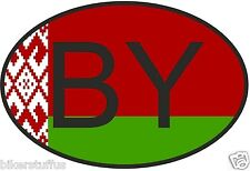 BY BELARUS COUNTRY CODE OVAL WITH FLAG STICKER
