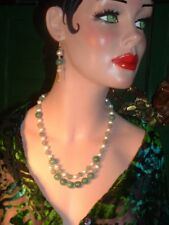HANDCRAFTED ELEGANT NATURAL JADE &  FW PEARLS NECKLACE EARRING