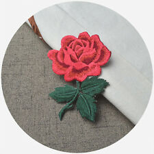 Red Rose Flower Sew Iron On Patch Badge Embroidered Bag Hat Jeans Dress Applique
