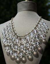 J. Crew LUCITE Clear BAUBLE Bubble Necklace GOLD Rhinestone Tiered Statement