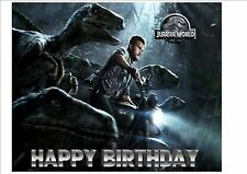 Jurassic World Park Dinosaurs Personalised Birthday Cake Topper on Icing