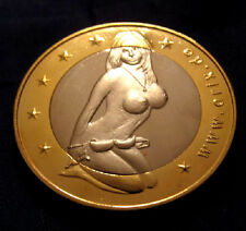 SEX EUROS COIN Gold Silver Girl Cleavage Model Risque Nude Naked Token Novelty