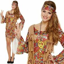 Adult 60s 70s Groovy Lady Hippy Flower Power Womens Ladies Fancy Dress Costume