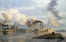 """John Stobart Print - Baton Rouge: The Steam Packet """"City of Baton Rouge"""" in 1881"""