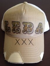 TAN/ White Graphic Snapback Trucker Mesh Hat Cap LEBA ONE SIZE FITS ALL