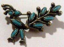 petite broche rétro motif paon couleur argent signé florenta  turquoise *421