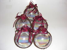 Victorian Style X-MAS Large Glass Christmas Ornaments Set of 5