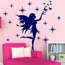 Fairy Stars Butterflies Removable Kids Wall Stickers Girls-Blue LW