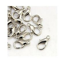 50 Silver Lobster Claw Clasps Jewellery Fasteners 12mm BUY 3 FOR 2