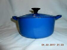 """Le Creuset Blue Enameled Cast Iron 7.25"""" Casserole Model B 2 Quart France w/Lid"""