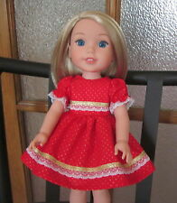 Gold Dots and Lace Christmas Red Dress for Wellie Wishers, 14-in Tonner Betsy