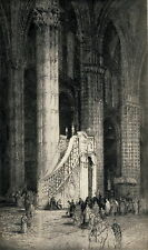 Antique Andrew Affleck Old Vintage Art Print THE PULPIT Siena Cathedral Italian