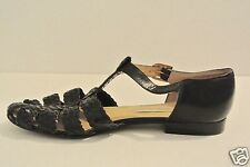 VTG AIGNER Black Leather Woven Huarache Fisherman Sandals T Strap 7.5 W Brazil